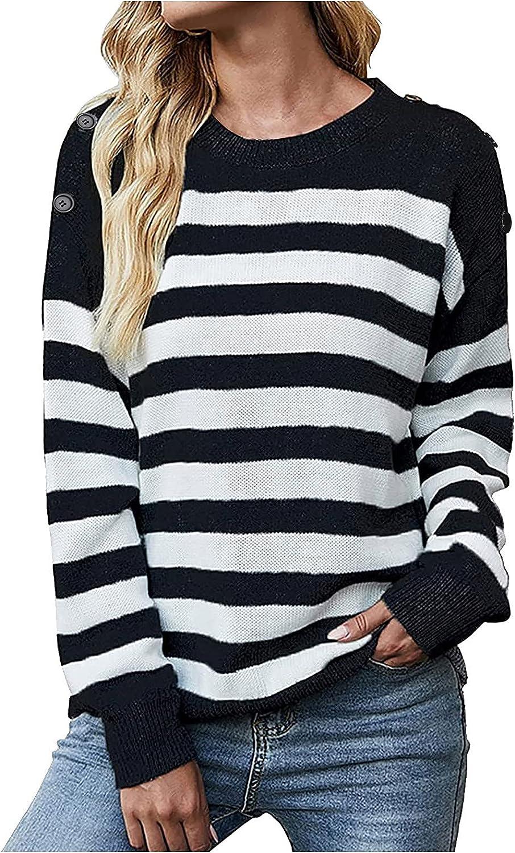 Women's Casual Knit striped sweater Long Sleeve Crewneck Loose Kawaii Sweaters for Women