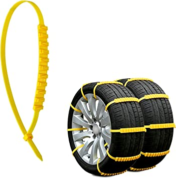 Jeremywell 10 PCS Emergency Anti-Skid Mud Snow Survival Traction Multi-Function Car Tire Chains Security Chains for Car Truck SUV Emergency Winter Driving Universal Tire Cable Belts: image