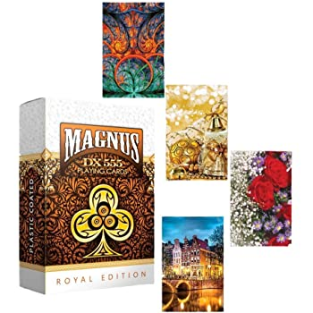 RIANZ Plastic Coated Magnus 555 Club Playing Cards Set of 4 Decks - Multi Color
