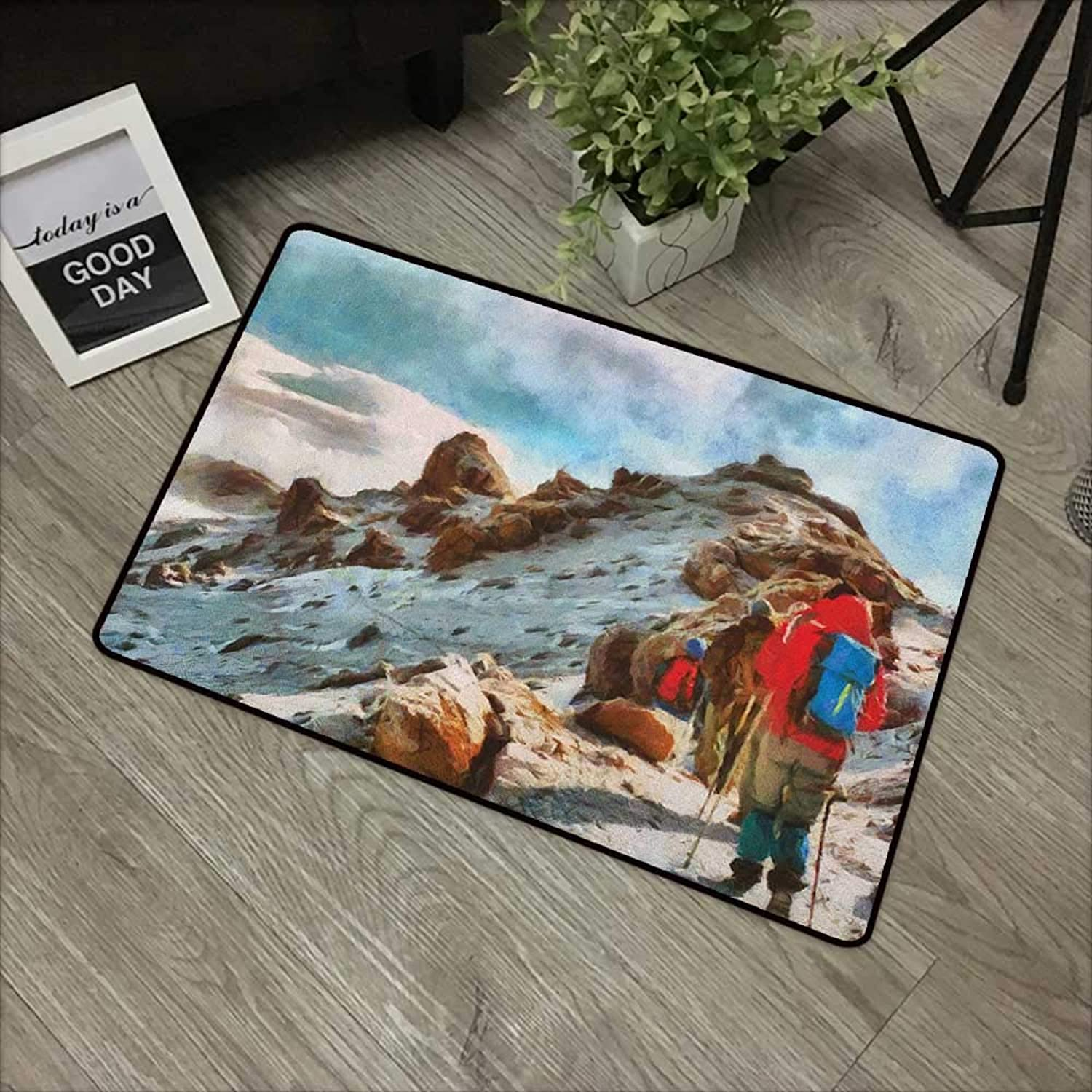 Corridor Door mat W35 x L59 INCH Mountain,Group of Trekkers Hiking Among Snows of Kilimanjaro in Winter in Painting Style, Multicolor Easy to Clean, Easy to fold,Non-Slip Door Mat Carpet