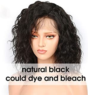 Wavy Short Bob Wig For Women Natural Black Remy Brazilian Lace Front Wig Plucked With Baby Hair