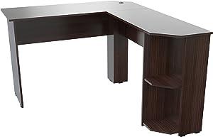 Inval Merlin L-Shape Corner Desk, Espresso-Wengue