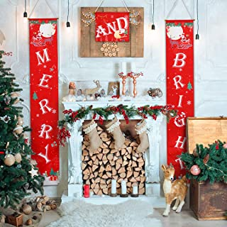 AivaToba Merry Bright Christmas Banner, Merry Bright Porch Sign for Christmas Decoration Outdoor Indoor, Red Xmas Outdoor Christmas Decor for Home Wall Door Apartment Party