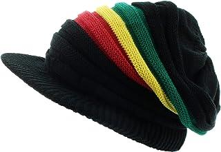 Milani Rasta Ribbed & Slouchy Short Brim Beanie Cap - Cotton and Stripes