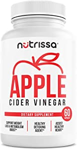 Apple Cider Vinegar Dietary Supplement - Promotes Healthy Weight Loss, Natural Metabolism Booster & Fat Burner, Soy, Dairy & Gluten-Free, Organic, Vegetarian, 1300 Mg, 60 Capsules