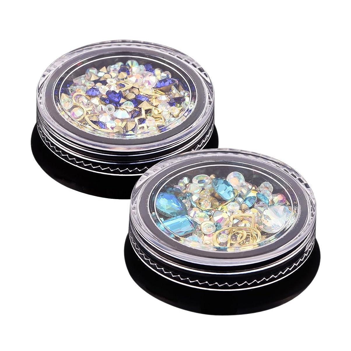 アプト痛いジェムSODIAL 2ボックス3Dネイルジュエリーカラフル混合アクリルチップダイヤモンドフラットジュエルストーンネイルラインストーンマニキュアDIYネイルアートデコレーション(ロイヤルブルー、アクアブルー各1個)