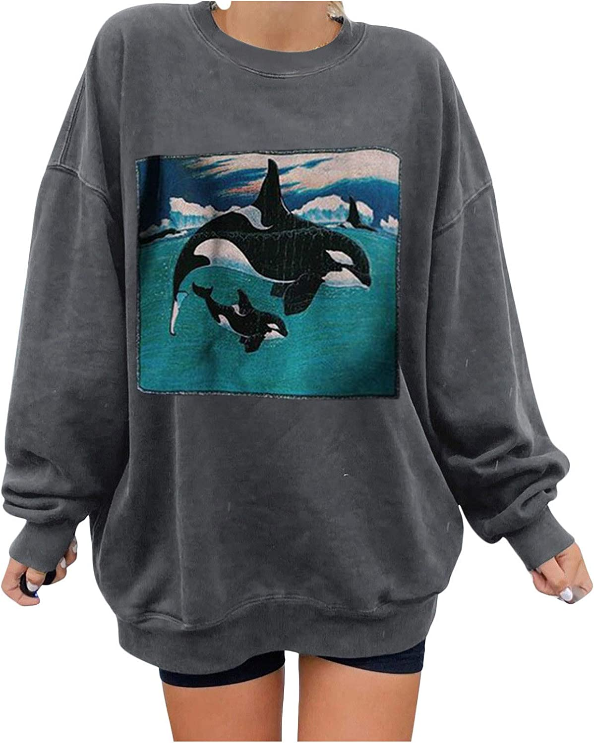Sweatshirts for Women Crewneck Long Sleeve Pullover Cute Whale Pattern Blouse Loose Casual Warm Tops