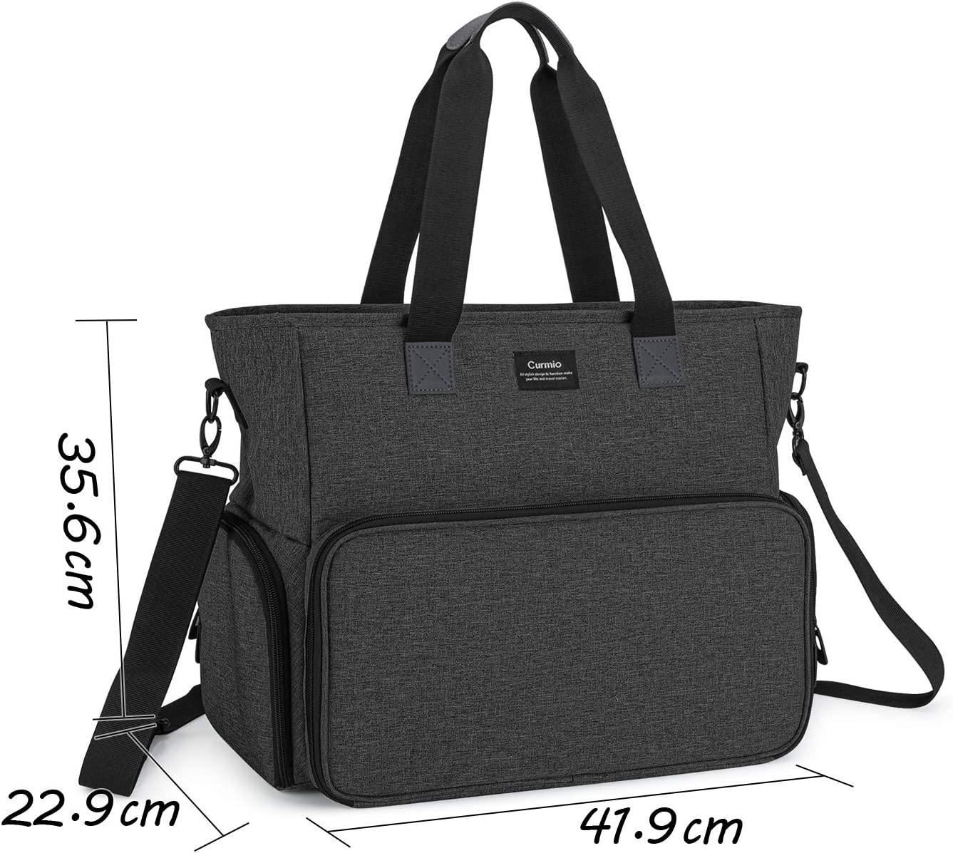 Health Care Hospice CURMIO Nurse Bag and Tote with Padded Laptop Sleeve Medical assistant Perfect for Nursing Students Medical Supplies Bag for Home Visits Visiting nurses,BAG ONLY,Black