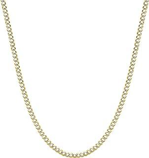075b5999f Pori Jewelers 18K Two Tone Gold with White Pave Diamond Cut 2mm Curb/Cuban  Chain
