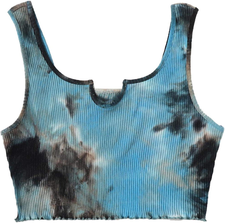 SheIn Women's Plus Notched Neck Sleeveless Crop Top Lettuce Trim Tank Shirt