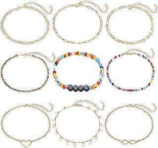 PHALIN 9PCS Boho Anklets for Women Girls Layered Link Chain Ankle Bracelet Set Rainbow Crystal Bead Love Letter Anklets Ad...