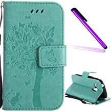 Samsung Galaxy S3 Mini Case Cover EMAXELER Diamond Embossed Stylish Kickstand Case Credit Cards Slot Cash Pockets PU Leather Flip Wallet Case For Samsung S3 Mini Wish Tree Green