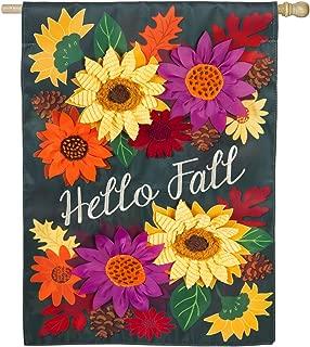 Evergreen Flag Hello Fall Floral Outdoor Appliqué House Flag, 28 x 44 inches