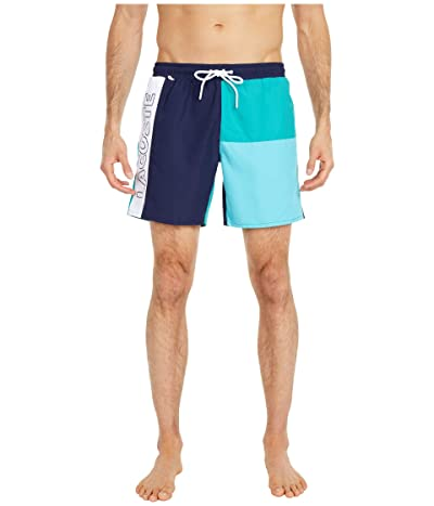 Lacoste Color-Block and Printed Mid Length Swim Trunks (Navy Blue/Niagara Blue/Cicer/White) Men
