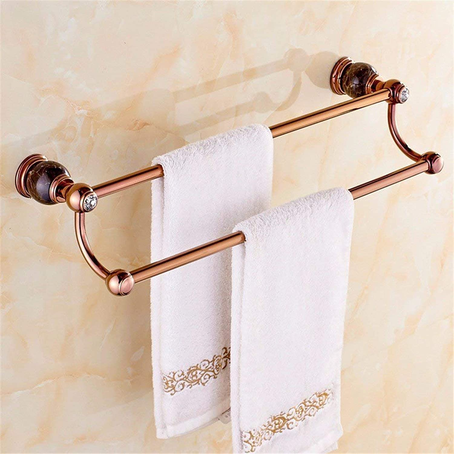 The Copper Base Christmas pink of gold in Black Marble Diamond Set Bathroom Accessories Toilet Brush Paper Holder,Double Pole
