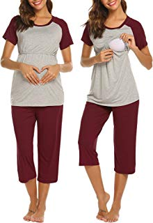 Ekouaer Women Long Raglan Sleeve Maternity Pajamas Set...