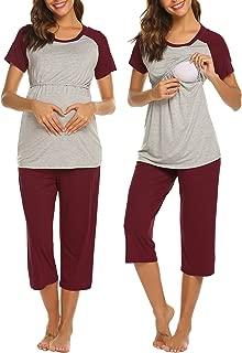 Women Long Raglan Sleeve Maternity Pajamas Set Baseball...