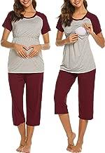 Ekouaer Women Long Raglan Sleeve Maternity Pajamas Set Baseball Nursing Breastfeeding Sleepwear Capri Set