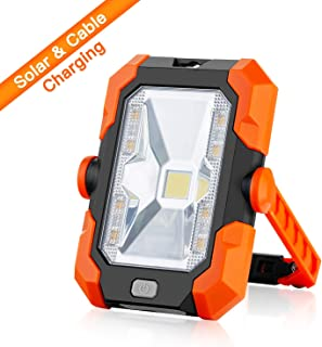 Portable LED Work Light,Rechargeable Solar Work Lights Built-in 4400mAh Battery IP64 Waterproof COB LED Flood Lights Job Site Lighting With Magnetic For Outdoor Camping Hiking Emergency SOS Mode