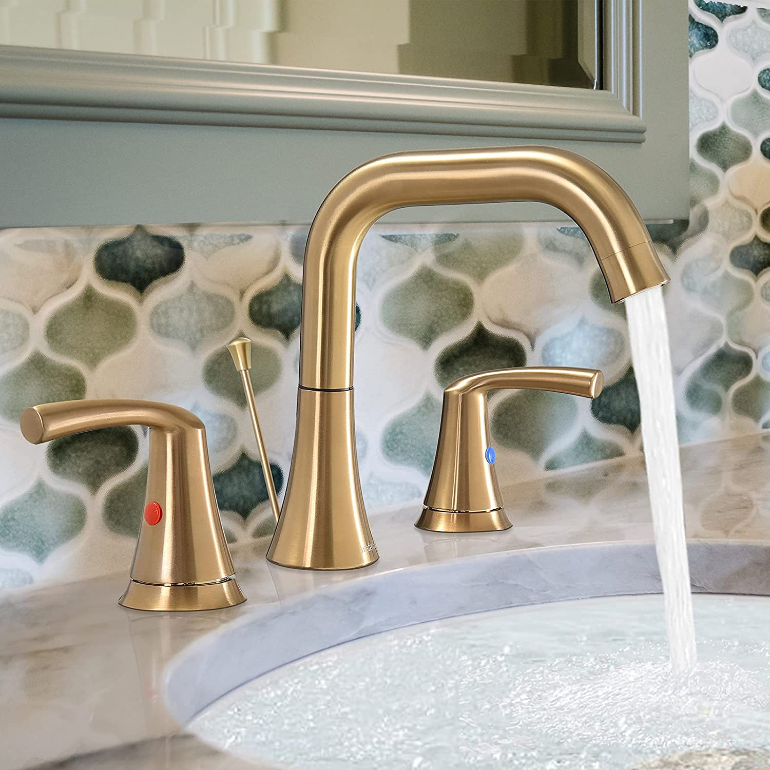 """WaterSong 8"""" 3 Hole Widespread Brushed Gold Bathroom Sink Faucet $45.49 Coupon"""
