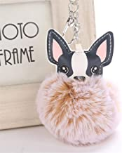 Beiswe Cute Fluffy Ball Keychain PU Leather Dog Bulldog Pompom Key Chain for Clothing Bag Scarf Hanging Adornment Accessory (Style 8)