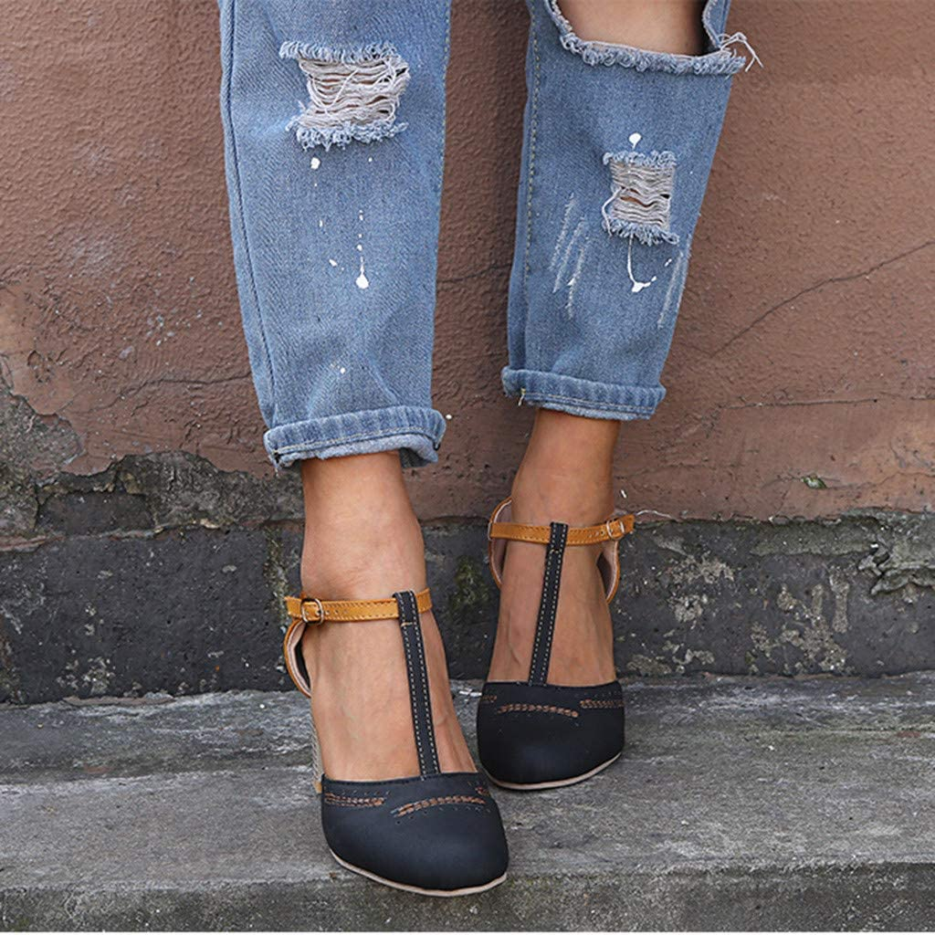 Memela Clearance sale Womens Sandals Rome Round Toe Ankle Buckle Strap Sandals Thick Heel High Heels Shoes