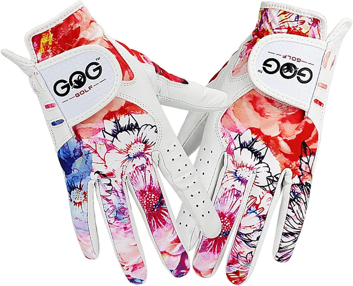ZhiCai Free shipping on posting reviews Golf Glove Women Sheepskin Color Printed Leather High quality Pattern