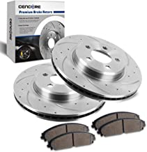 CENCORE Front Left & Right Non-Coated Anti-Rust Brake Disc Plate Kit Cross Drilled & Slotted 2 Brake Rotors & 4 Ceramic Brake Pads Compatible with 2006-2014 Dodge Charger 2005-2013 Chrysler 300