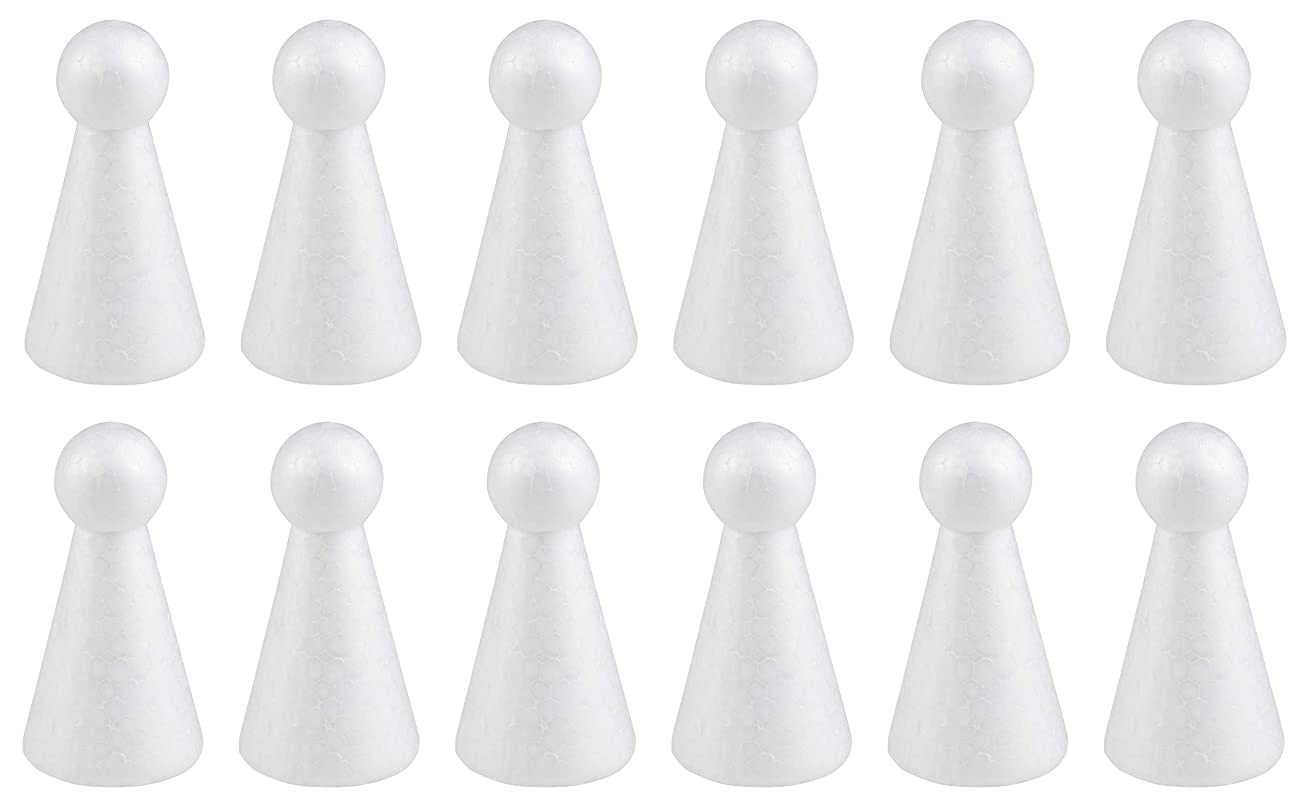 Craft Foam - 12-Pack People Shaped Foam, Blank Polystyrene Foam Doll, for DIY Crafts, Kids Art Class, Party Decor, Home Decoration, School Projects, White, 2 x 2 x 4 Inches