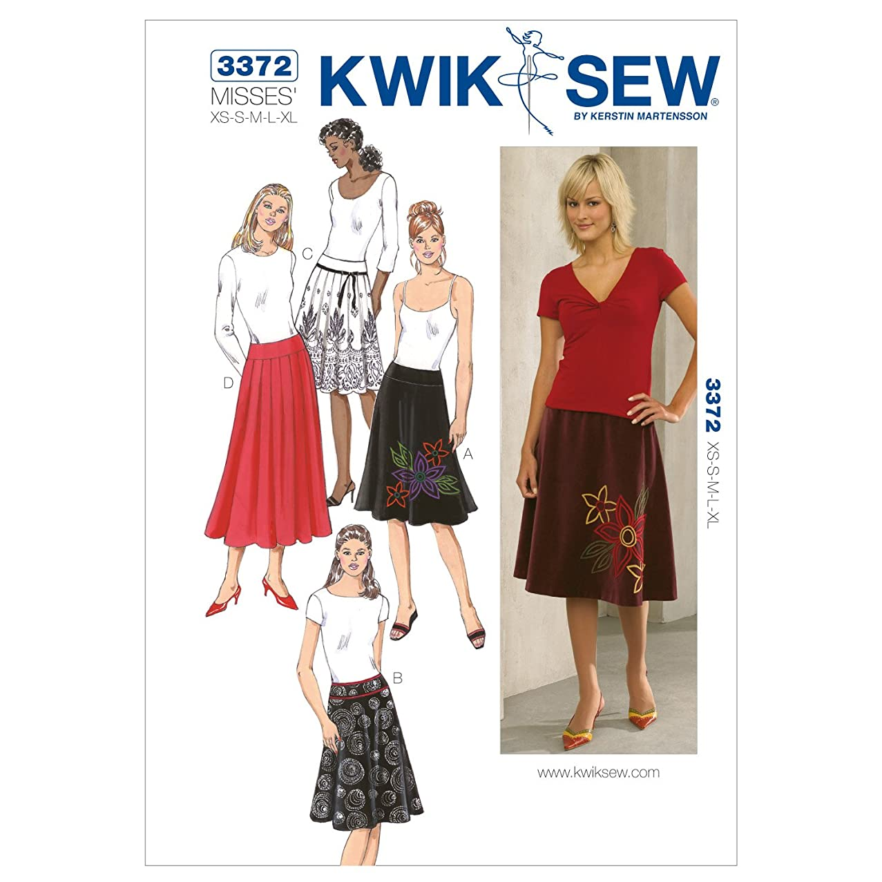 Kwik Sew K3372 Skirts Sewing Pattern, Size XS-S-M-L-XL