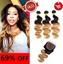 Shengmeiyuan Beauty Show 8-30 Inches Grade 9A Unprocessed Brazilian T1B/27 Ombre body wave Virgin Hair 3 Bundles With ClosureRosa Hair Products Silver Human Hair Extensions (12 14 16 with 12inch)