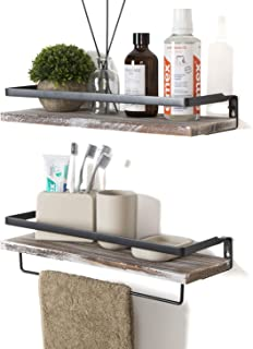 Best Soduku Floating Shelves Wall Mounted Storage Shelves for Kitchen, Bathroom,Set of 2 White Washed Review