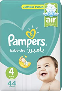 Pampers Baby-Dry Diapers, Size 4, Maxi, 9-14kg, Jumbo Pack, 44 Count