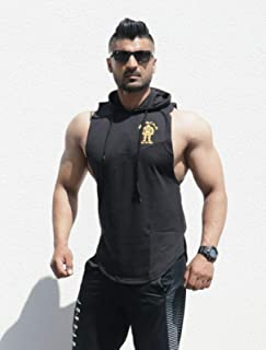 Muscle Gym Men's Sleeveless Hoodie Stringer Fitness Bodybuilding Workout Hooded Tank Tops