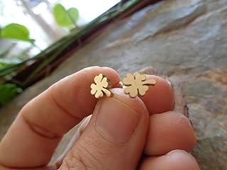 ⊹⊱ ❁ TRÉBOL DORADO HOJA DE TRÉBOL LUCKY PLUG FABRICADO EN ACERO INOXIDABLE ❁⊰⊹ Lucky charm PENDIENTES de hojas, TAPÓN PEQU...