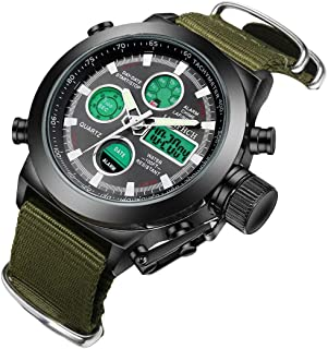 LYMFHCH Big Face Sports Watch for Men Waterproof WatchMilitary Multifunction LED Date Chronograph Green Canvas Band Wrist Watch