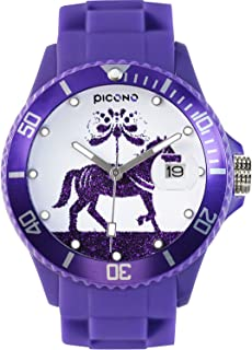 PICONO Purple Juggler Time and Date Water Resistant Analog Quartz Watch - Horse