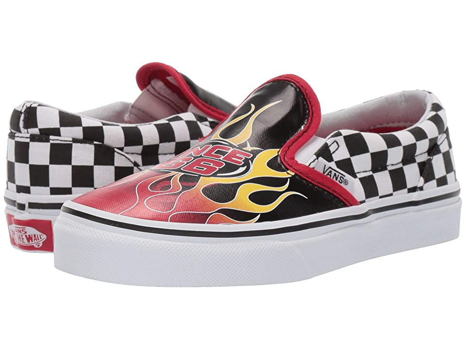 Vans Kids Classic Slip-On (Little Kid/Big Kid) ((Race Flame) Black/Racing Red/True White) Boys Shoes