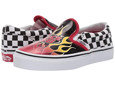 Vans Kids Classic Slip-On (Little Kid/Big Kid) ((Race Flame) Black/Racing Red/True White) Boys Shoes