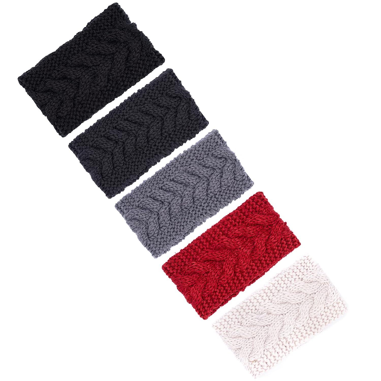 5 Pieces Ear Warmer Headband Women Winter Cable Knit Headband Twist Bowknot Ear Warmers