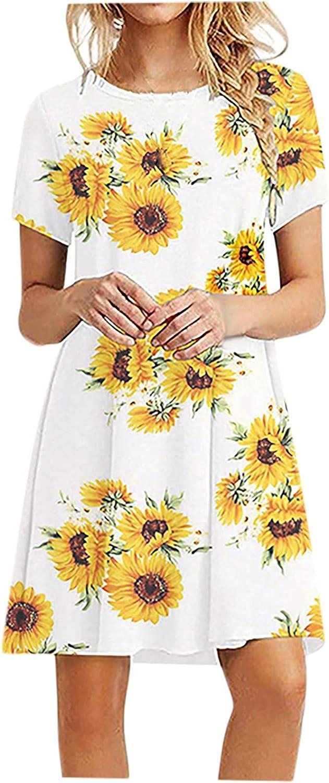 Tshirt Dresses with Pockets for Women Summer Casual Crewneck Dresses Short Sleeve Boho Beach Dress Sundress