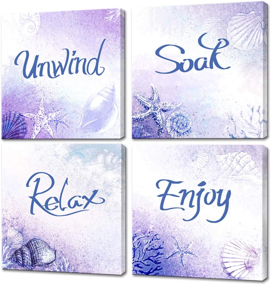 LoveHouse 4 Panel Words Canvas Wall Art Starfish and Sea Snail Painting Purple Background Beach Artwork for Bedroom Living Room Decor Stretched Ready to Hang 12x12inchx4pcs