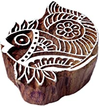 Handmade Fish Aquatic Design Wooden Printing Stamp - DIY Henna Fabric Textile Paper Clay Pottery Block Printing Stamp