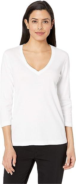 EZ Fit 3/4 Sleeve Cotton Modal V-Neck Tee