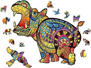 Puzzle en Bois Animaux,Puzzle Adulte et Enfants,Pièces de Puzzles de Forme Unique Animaux Colorés,Jeu de Puzzle Le Jeu Par...