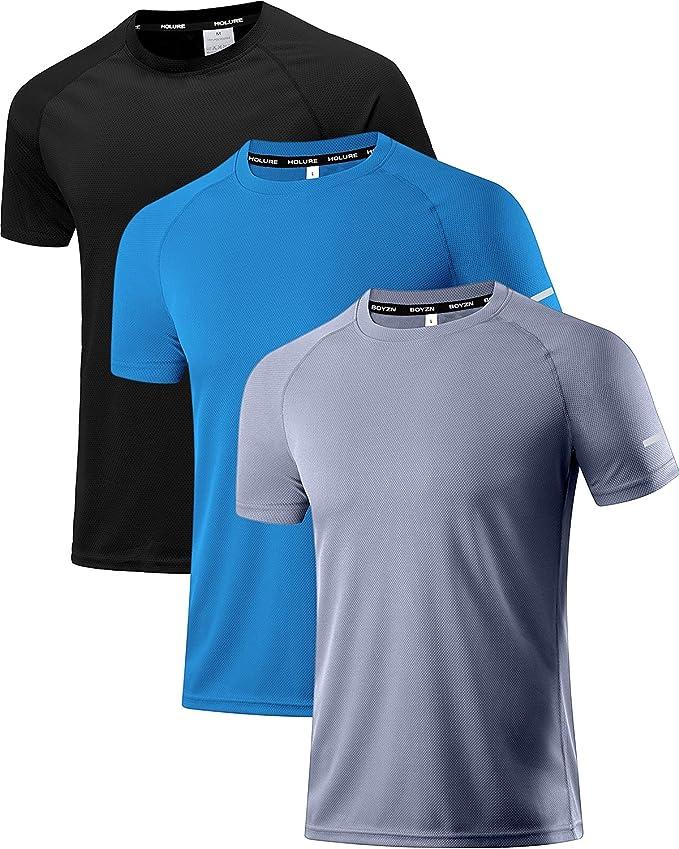 1348 opiniones para Holure- Camiseta de entrenamiento de manga corta de malla para hombre, secado