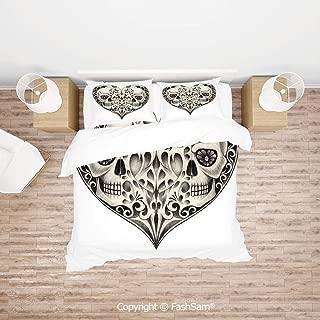 FashSam Duvet Cover 4 Pcs Comforter Cover Set Twin Half Fire Design in Hearts Festive Spanish Image Print for Boys Grils Kids(King)