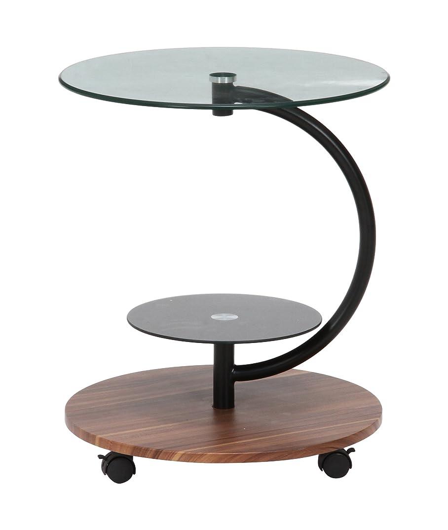 公誇張原因不二貿易 ガラス ラウンドテーブル マーブル 直径50cm ダークブラウン 96699