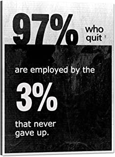 Wall Art Modern Inspiring Artwork Painting on Canvas Print Poster 97% Who Quit are Employed by The 3% that Never Gave Up Wall Pictures for Living Room Home Office Decor Stretched By Wooden Frame