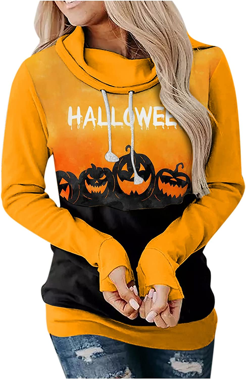 FABIURT Halloween Costumes for Women, Womens Hoodies Funny Pumpkin Graphic Long Sleeve Sweatshirt Plus Size Pullover Tops